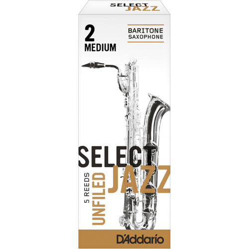 Rico Select Jazz Baritone Sax Reeds, Unfiled, Strength 2 Strength Medium, 5-pack