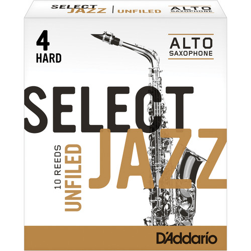 Rico Select Jazz Alto Sax Reeds, Unfiled, Strength 4 Strength Hard, 10-pack