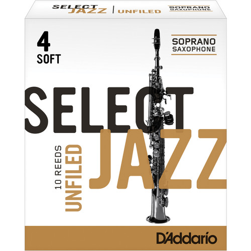 Rico Select Jazz Soprano Sax Reeds, Unfiled, Strength 4 Strength Soft, 10-pack