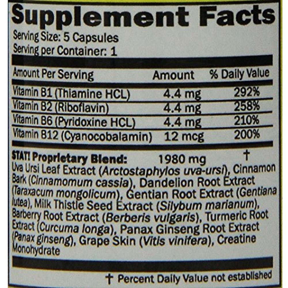 Supplemental Facts Serving Size: 5 Capsules Servings per Container: 1 STAT! Proprietary Blend: 1890mg Uva Ursi Leaf Extract (Arctostaphylos uva-ursi), Cinnamon Bark (Cinnamomum  cassia), Dandelion Root Extract (Taraxacum mongolicum), Genitian Root Extract (Gentianalutea), Milk Thistle Seed Extract (Silybum marianum), Barrberry Root Extract (Berberis vulgaris), Tumeric Root Extract (Curcuma longa), Panax Ginseng Extract (Panax ginseng), Grape Sking (Vitis vinifera), Creatine Monohydrate.