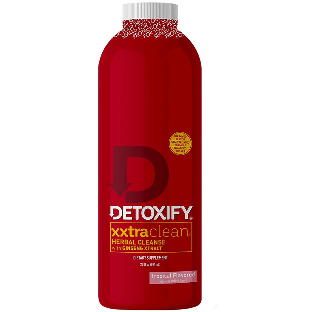 Front view of a bottle of Tropical flavored Detoxify Xxtra Clean.
