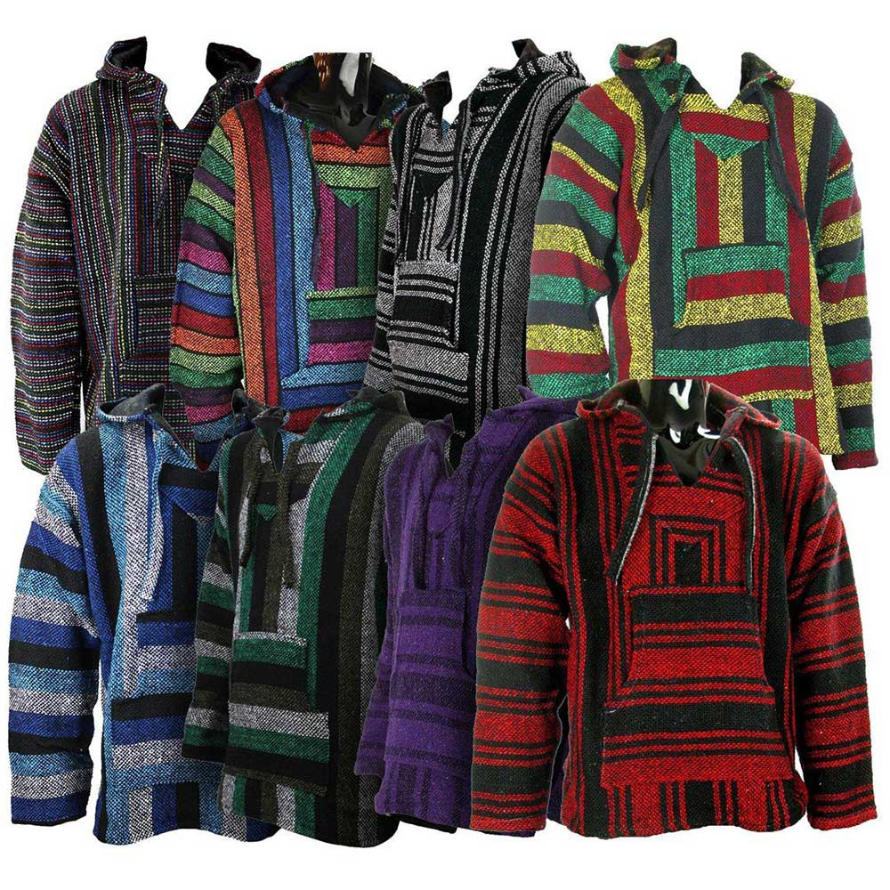 Assorted colors of Bajas stacked on top of one another. Not all styles shown are available.
