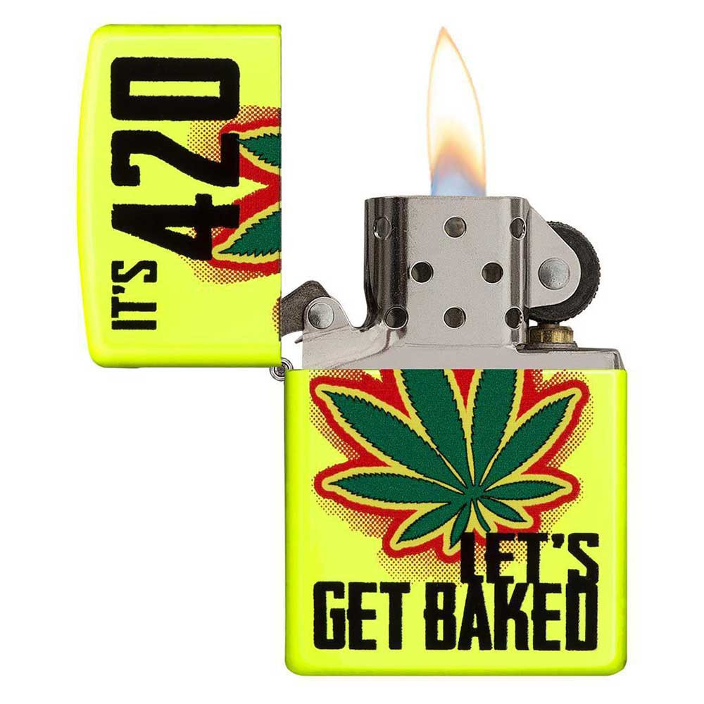 "Zippo ""Let's Get Baked"" Yellow Windproof Lighter"