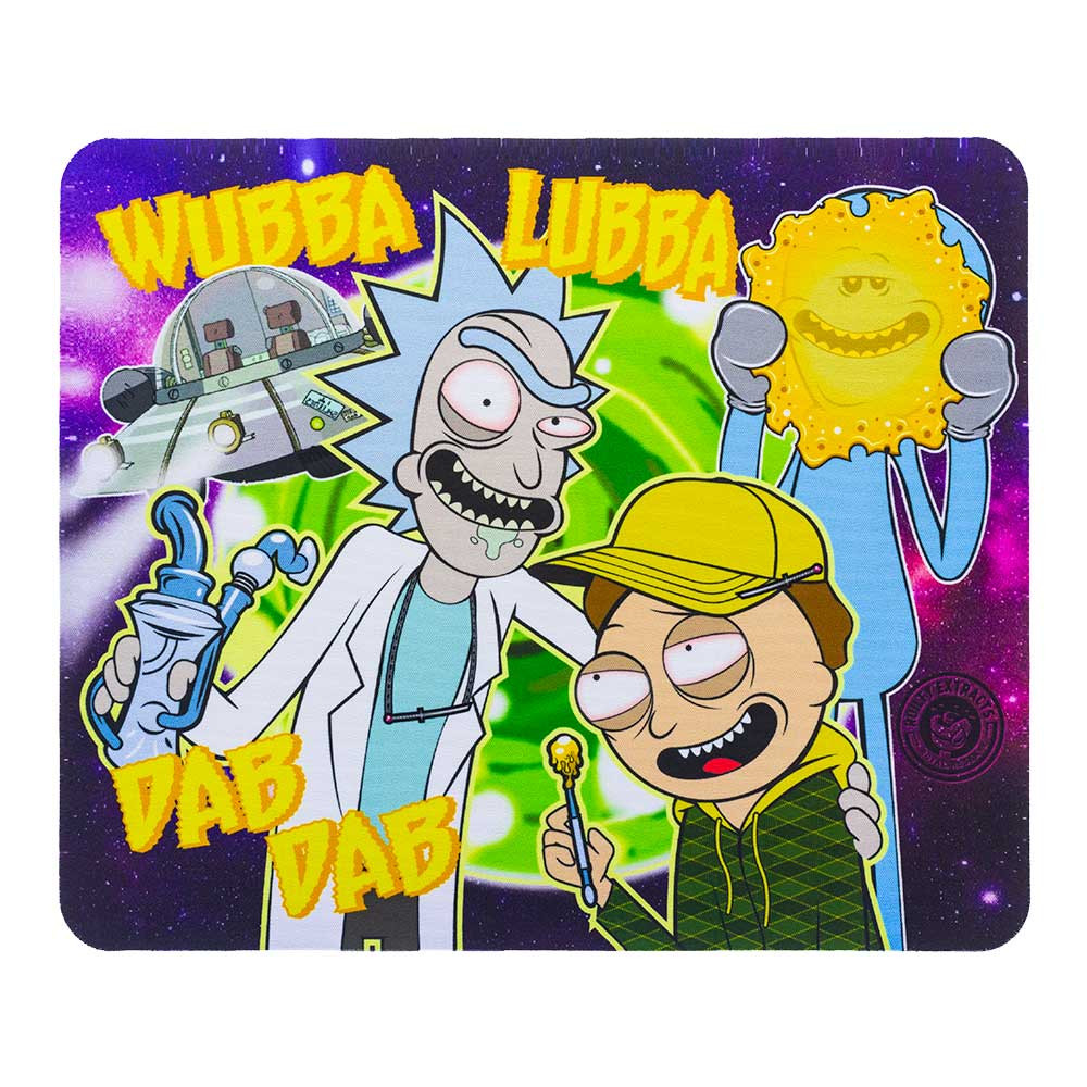 "Rick and Morty ""Wubba Lubba Dab Dab"" square dab pad, featuring Rick, Morty, and a dab-faced Meeseeks."
