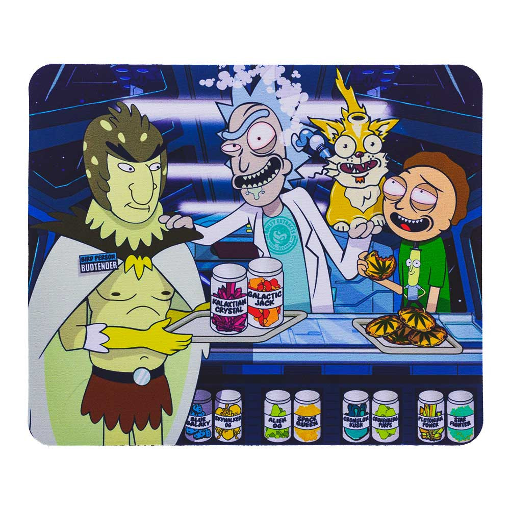 "Rick and Morty ""Space Dispensary"" square dab pad, featuring Rick, Morty, and Birdperson."