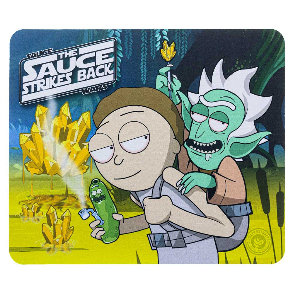 "Rick & Morty ""Sauce Wars: the Sauce Strikes Back"" square dab pad, featuring Rick & Morty in a Luke & Yoda-styled artwork."