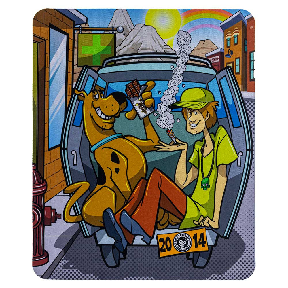 "Scooby Doo ""Doobie Snacks"" square dab pad, featuring Scooby, Shaggy, and the Mystery Van. The graphic on this pad is vertical."