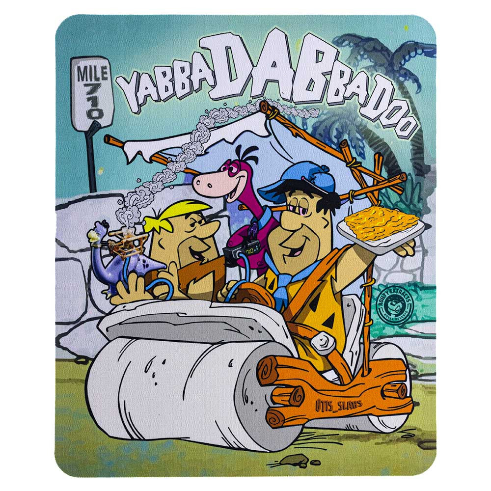 "Flintstones ""Flintstoned Yabba DABba Do!"" square dab mat. The graphic on this pad is vertical."