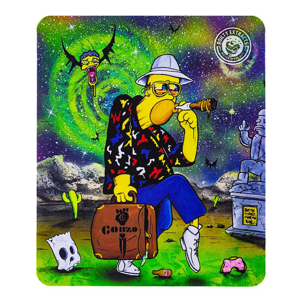 """Homer S Thompson"" square dab pad, featuring a Hunter S. Thompson-esque Homer Simpson. The graphic on this pad is vertical."