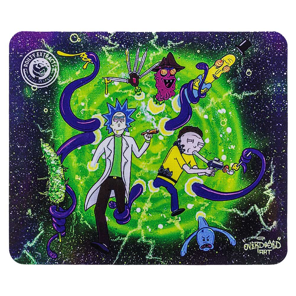 "Rick & Morty ""Dabbing in a Wormhole"" square dab pad, featuring Rick, Morty, Scary Terry, and various aliens."
