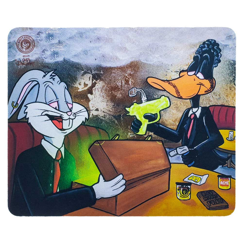 "Bugs and Daffy in ""Bugs & Daffy / Pulp Fiction"" square dab pad."