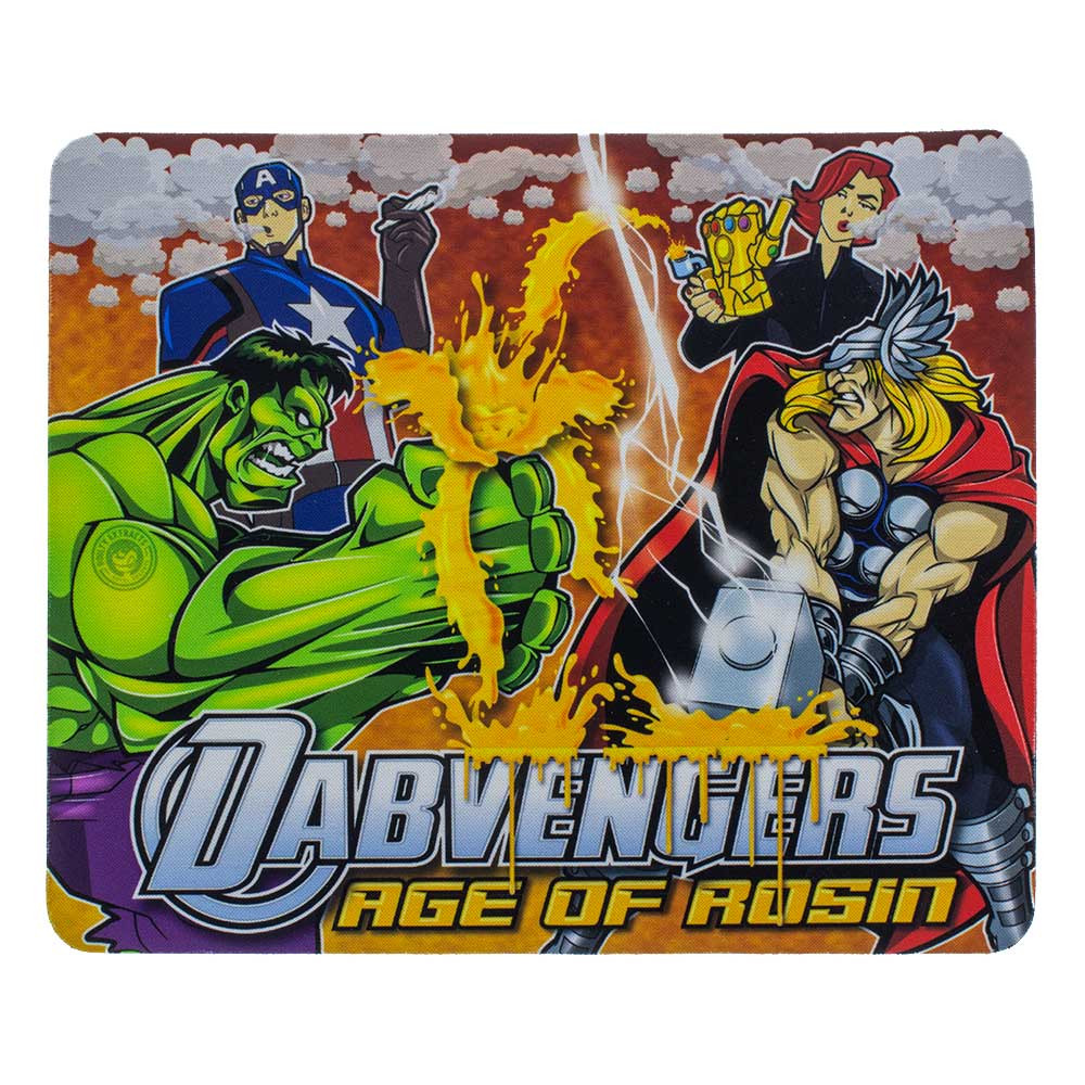 "Avengers-style ""Dabvengers"" square dab pad, featuring Hulk, Captain America, Black Widow, and Thor."