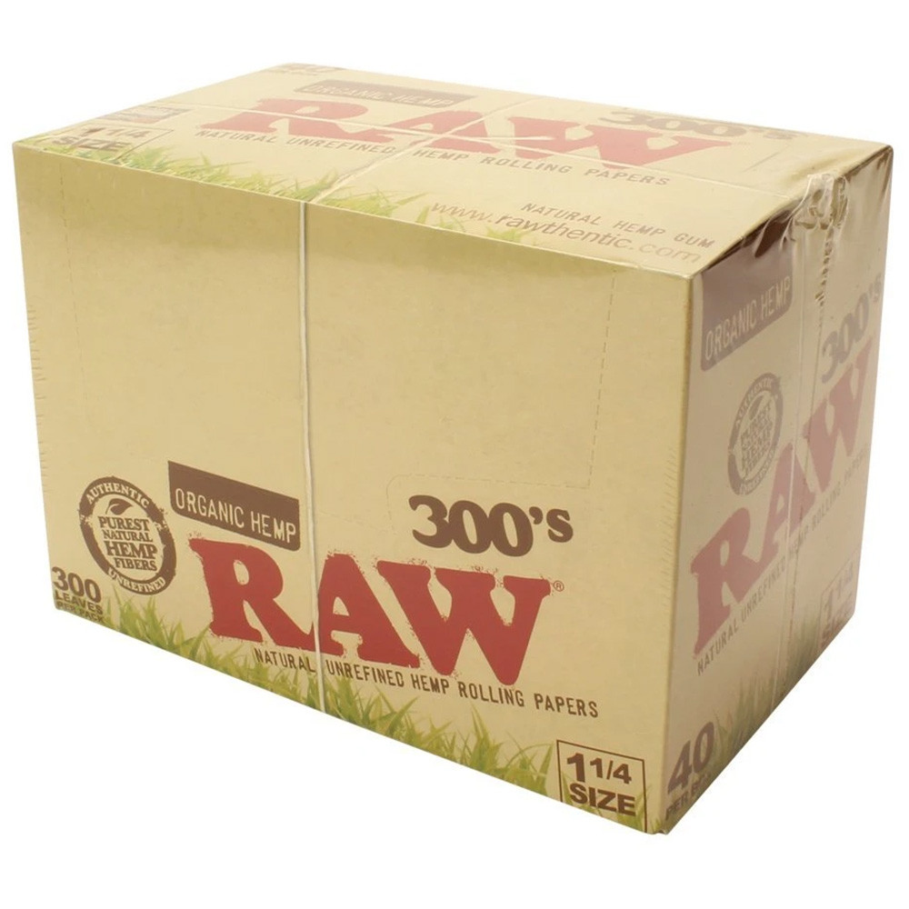 Quarter view of a Raw 300's Organic Hemp display box, closed and sealed.