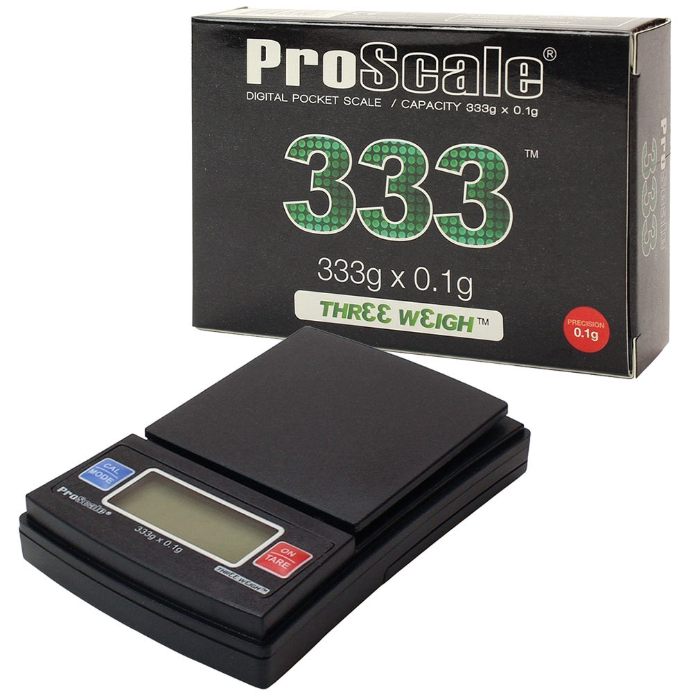 A ProScale Three Weigh Digital Scale and its box.
