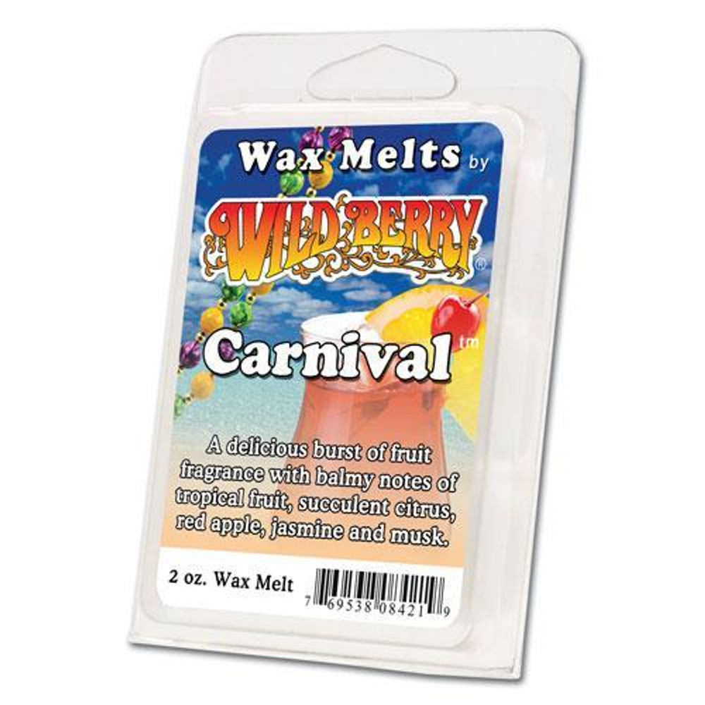 One 2 ounce pack of Carnival™ Wax Melt. A delicious burst of fruit fragrance with balmy notes of tropical fruit, succulent citrus, red apple, sweet jasmine and musk.