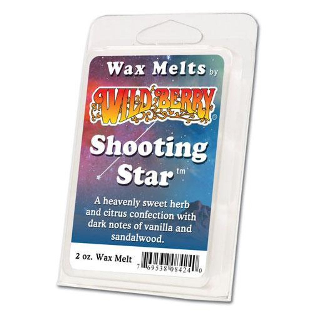 One 2 ounce pack of Shooting Star Wax Melt. A heavenly sweet herb and citrus confection with dark notes of vanilla and sandalwood.