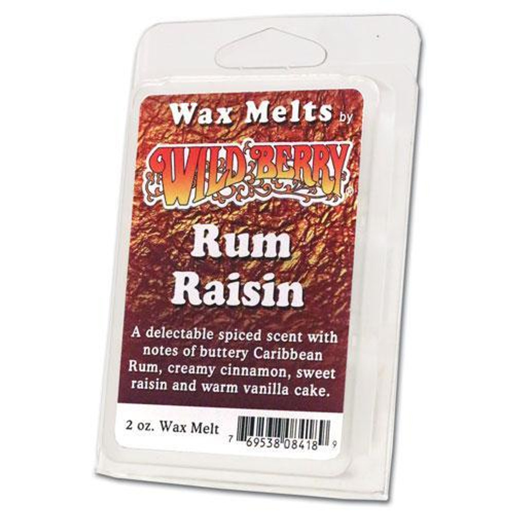 One 2 ounce pack of Rum Raisin Wax Melt. A delectable spiced fragrance with notes of buttery Caribbean Rum, creamy cinnamon, sweet raisin and warm vanilla cake.