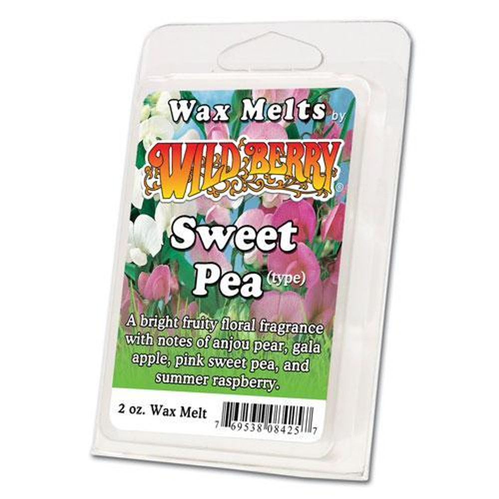 One 2 ounce pack of Sweet Pea Wax Melt. A bright fruity floral fragrance with notes of anjou pear, gala apple, pink sweet pea, mediterranean cyclamen and summer raspberry.