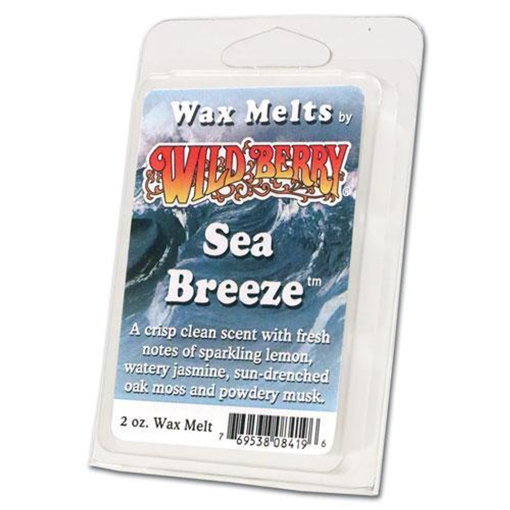 One 2 ounce pack of Sea Breeze™ Wax Melt. A crisp clean scent with fresh notes of sparkling lemon, watery jasmine, sun-drenched oak moss and powdery musk.