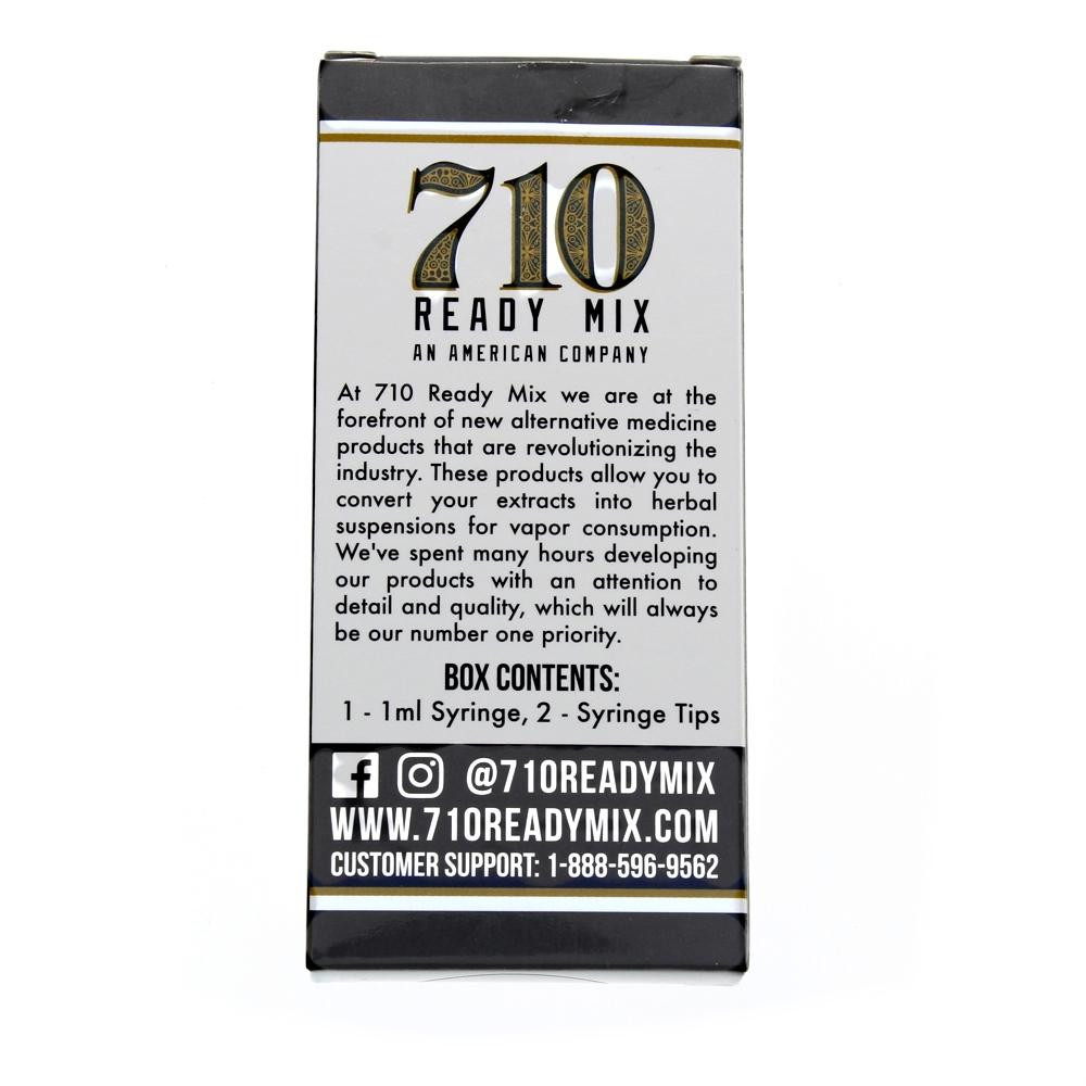 710 Ready Mix Syringe back box ingredients