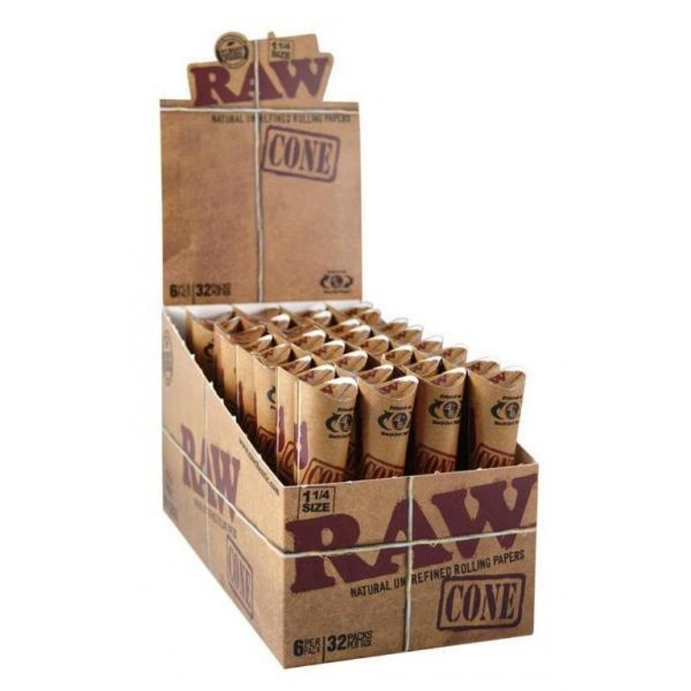 Open display box of Raw Classic 1 1/4 Cone packages.