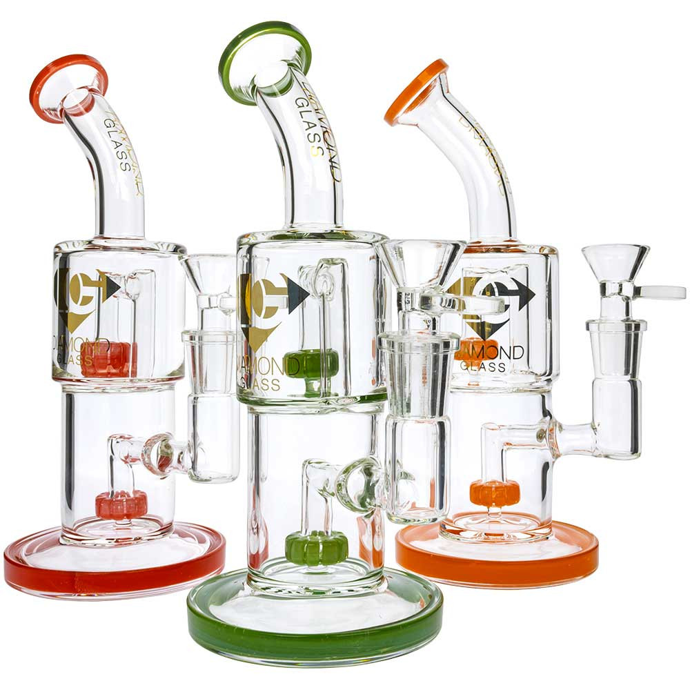"""Three assorted colored Diamond Glass 8"""" Double Showerhead Bongs, staggered. From left to right: Red, Green, and Orange."""