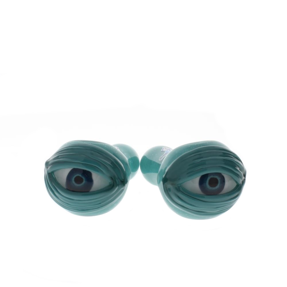 Two Chameleon Glass Cyclops Eyeball Pipes in Teal, viewed from the front.