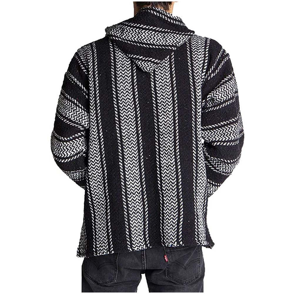 Back of a Black & White Striped Hoodie.
