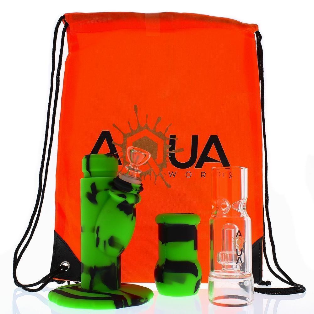 Aqua Silicone Waterpipe w/ Glass Showerhead