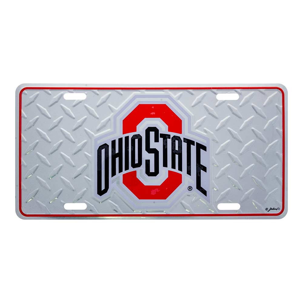 Ohio State Diamond Plate Car Tag