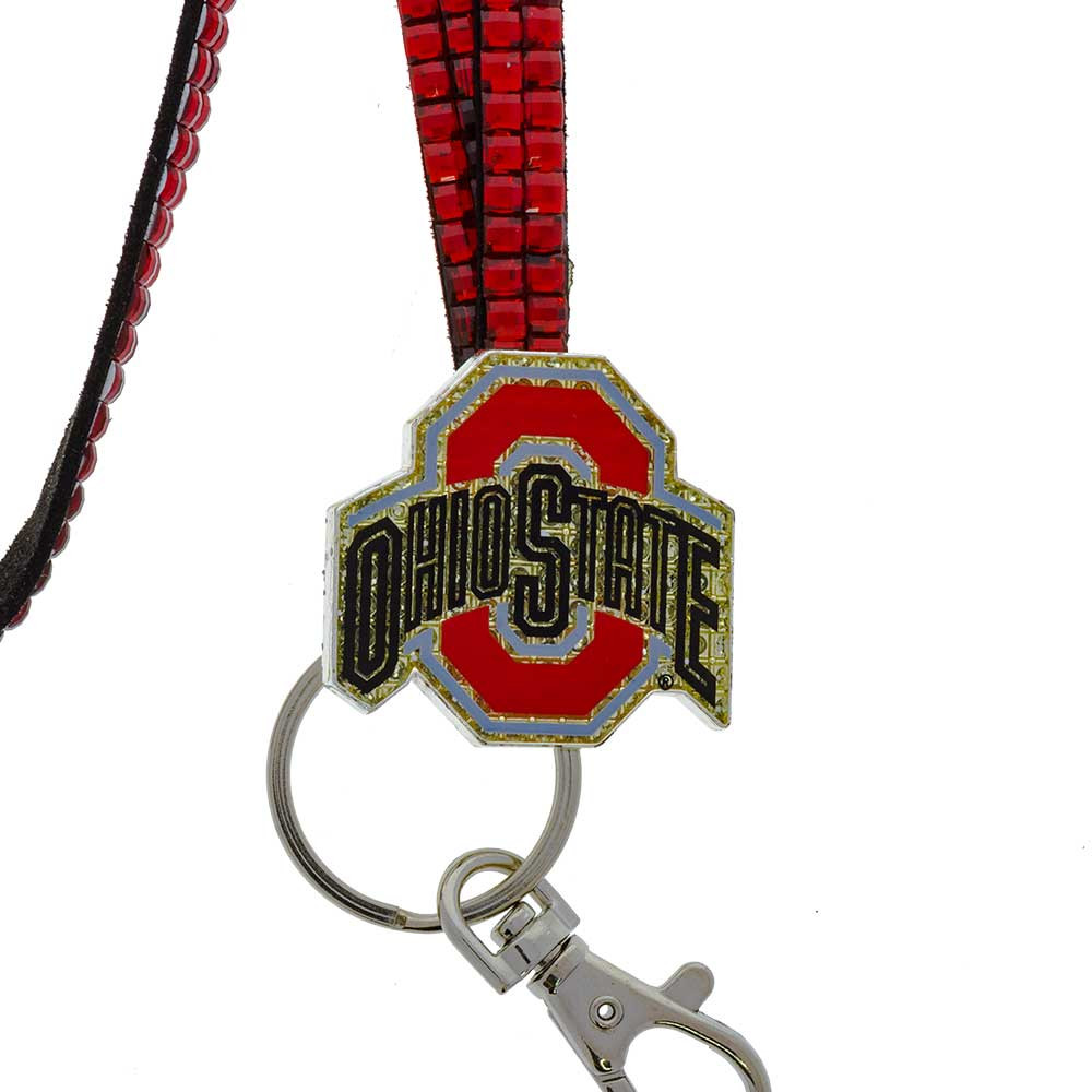 Ohio State Studded Lanyard with Key Ring, Clip, and Metal Emblem