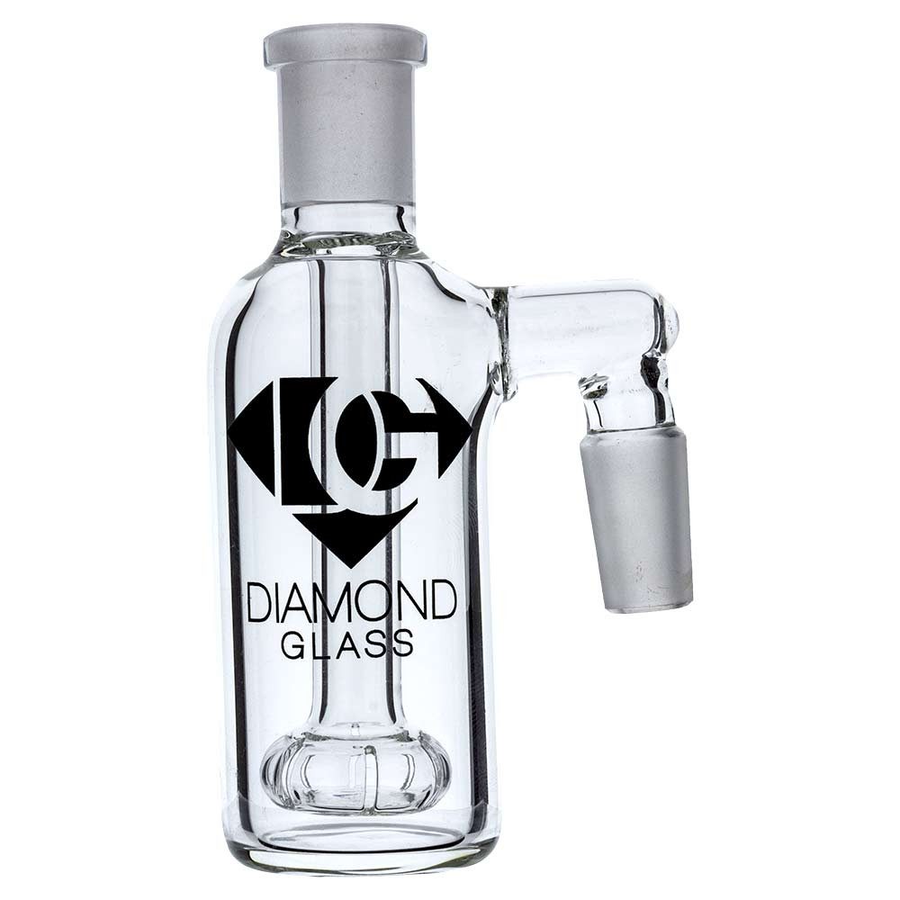 """Diamond Glass 14mm Male Ash Catcher Accessory, the """"One Time"""". Featuring a showerhead perc and 14mm joints for input and output."""