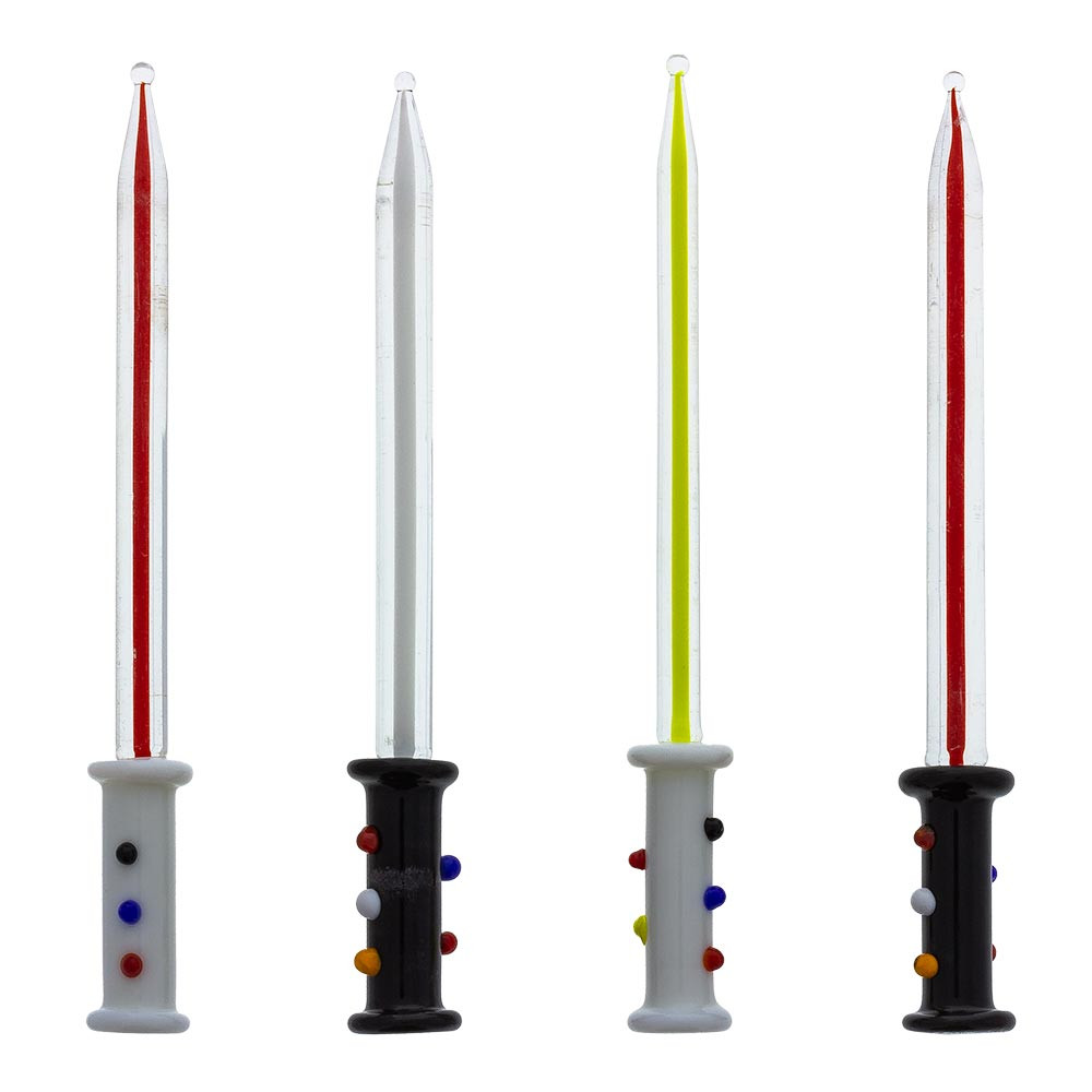 Each Light Saber Glass Dabber is hand made, so each one has its own character; sizes and colors will vary.