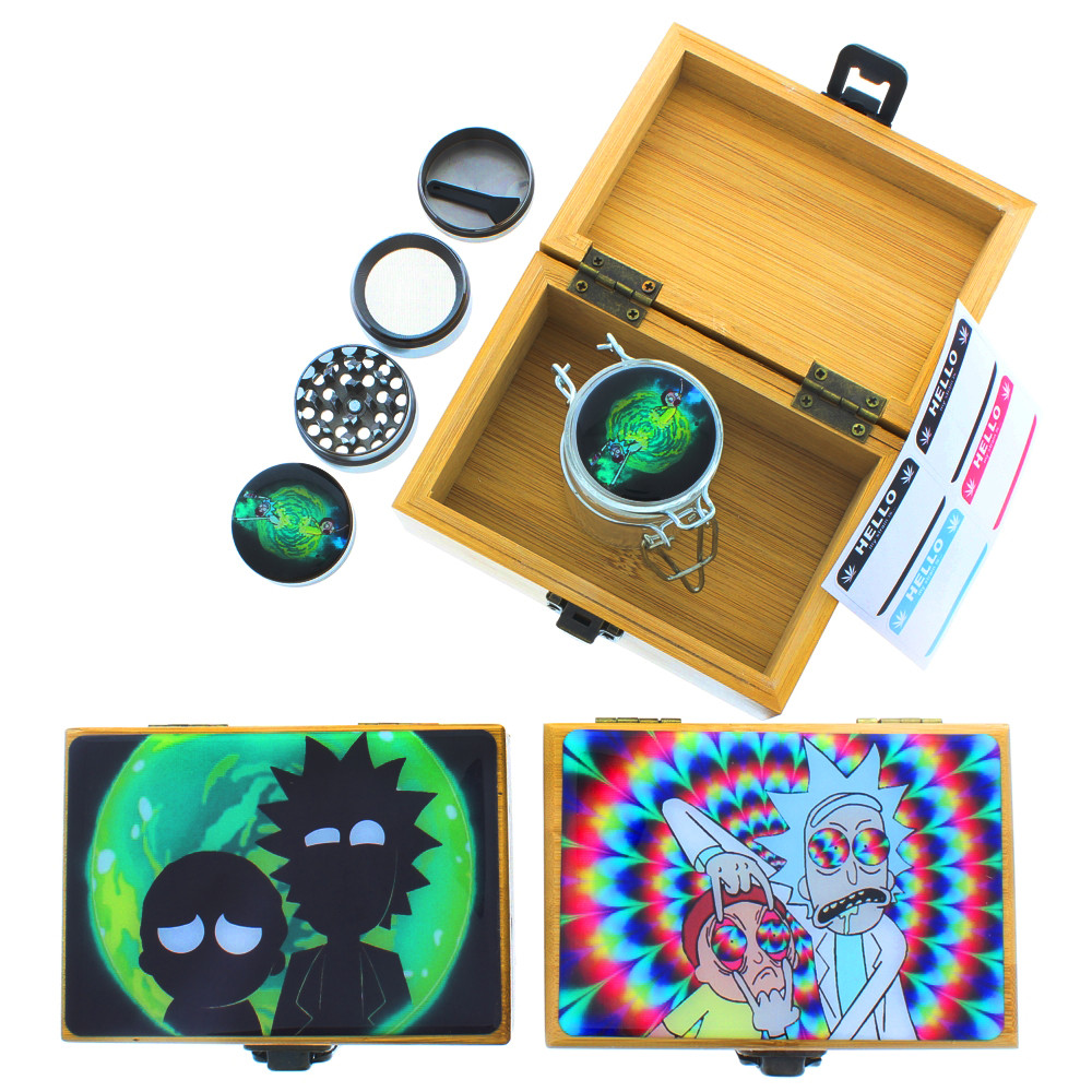 Rick & Morty Stash Box with Matching Jar and Grinder