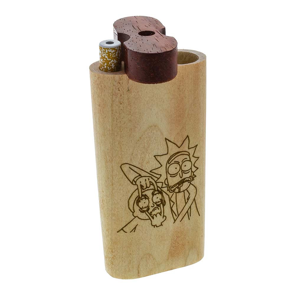 The tops of these Rick and Morty Smoke Systems swivel open to reveal a compartment for the taster and another to stash your material in.