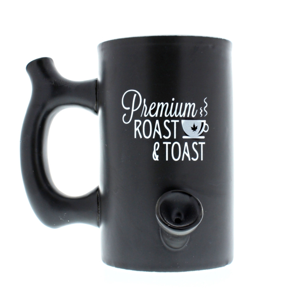 Roast & Toast Coffee Mug black coffee mug side view