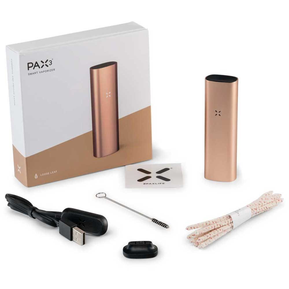 Pax 3 Basic Kit comes with the Pax 3 Vaporizer, a cleaning kit, one flat and one raised mouthpiece, and a charger.