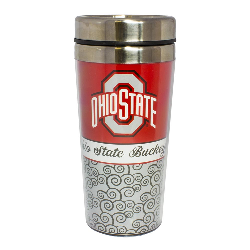 Ohio State Travel Mug with Spiral Pattern