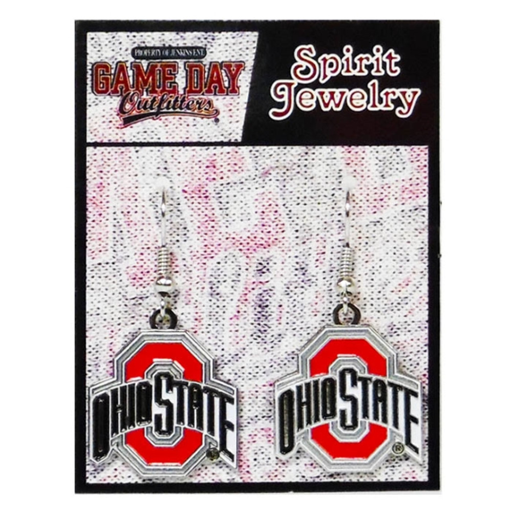 Gameday Spirit Jewelry earrings with Buckeye O and Ohio State name presented in black text.