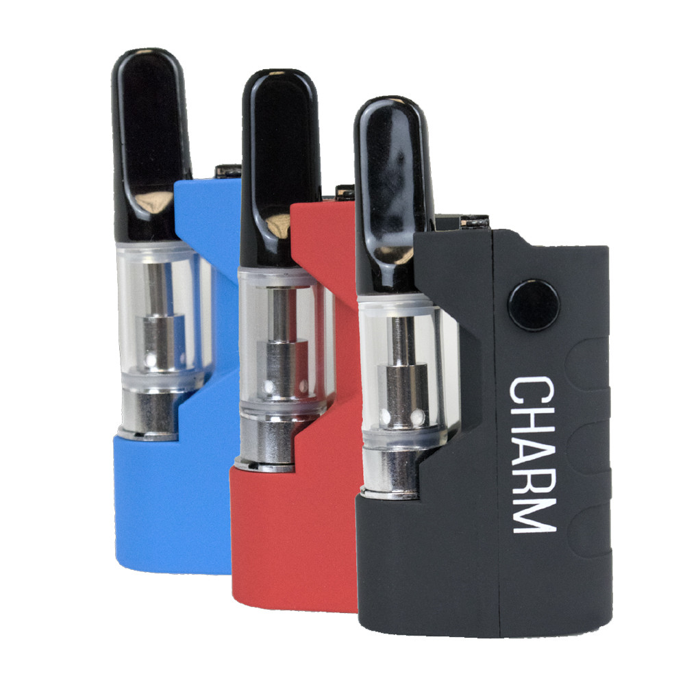 Randy's variable voltage charm cartridge vape in black, red and blue