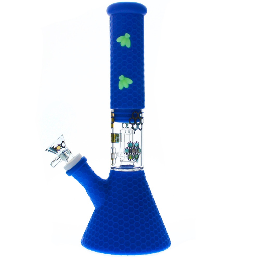 Stratus Silicone Tube with Honeycomb Pattern, Bees, and Shower Perc Bubbler side view