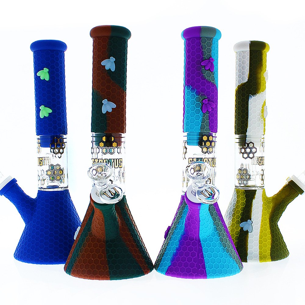Stratus Silicone Tube with Honeycomb Pattern, Bees, and Shower Perc Bubbler