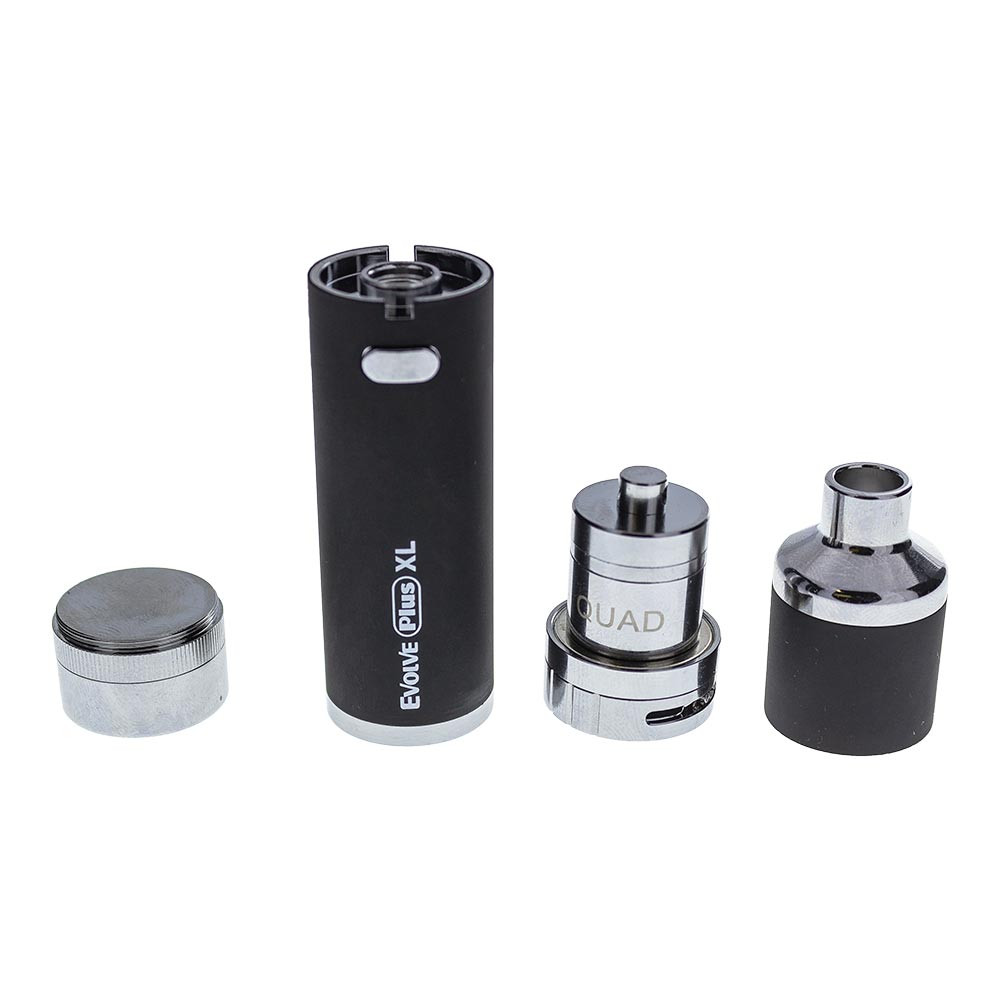 This shows the Yocan Evolve Plus XL disassembled. It breaks down into 3 main parts: the 1400 mAh battery, the Atomizer (shown here with the mouthpiece taken off to show the coil inside), and the storage jar. Everything screws neatly into place so everything you need is contained and within finger's reach.