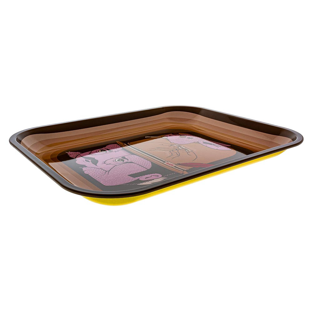 Raw Artist Series Rolling Tray featuring artwork by Jeremy Fish, low view so you can see the curved, rolled edges.