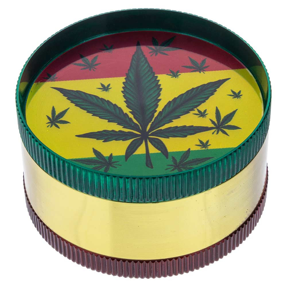 Small Metal Grinder with Assorted Leaf Graphics