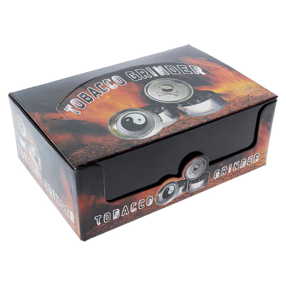 Small Metal Grinder with Assorted Leaf Graphics box