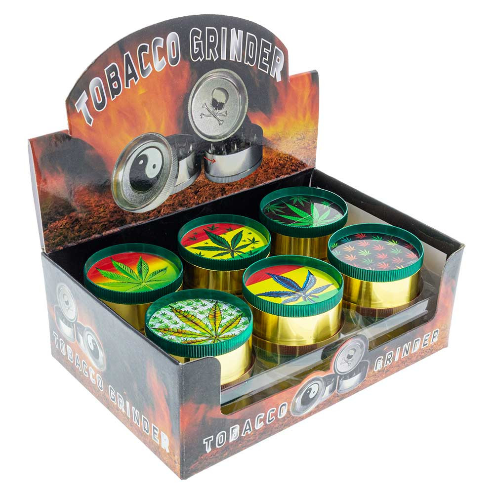 Small Metal Grinder with Assorted Leaf Graphics box wholesale