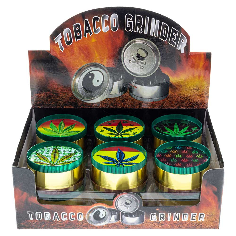 Buy Small Metal Grinder with Assorted Leaf Graphics Grinder Wholesale