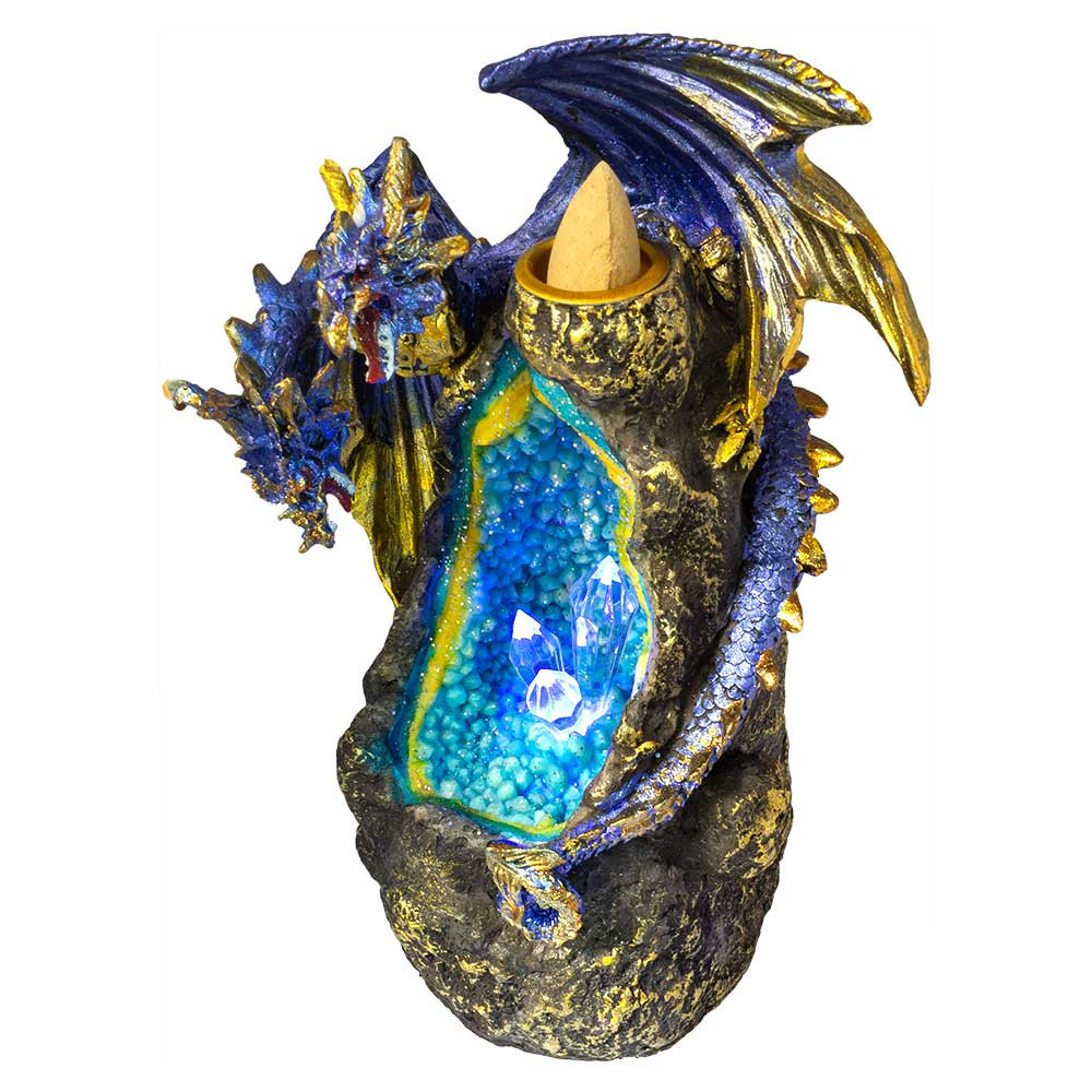 Dragon Crystal Geode Backflow Burner with LED light