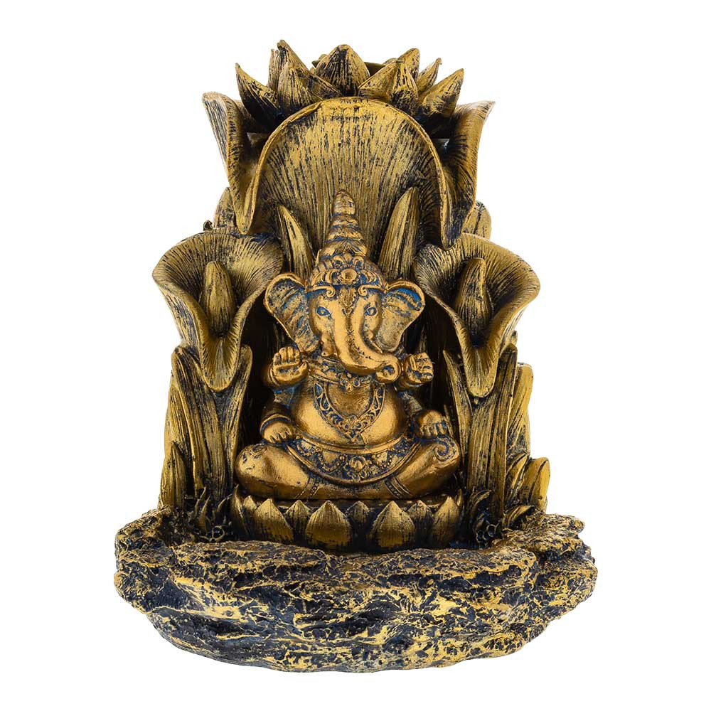 Front view of the Ganesha Backflow Incense Burner. The Hindu god Ganesha is flanked by lilies and topped with a lotus and the fog from backflow incense will gently cascade down his sides to the bowl at the bottom.